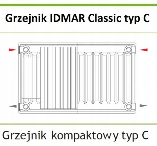 Grzejnik IDMAR C11 400x800 typ C 11 BOCZNY